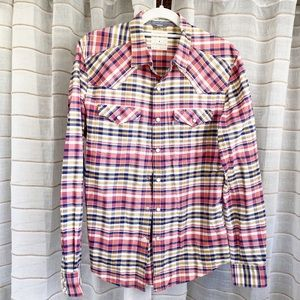 Levi's Cotton Snap Button Plaid Long Sleeve Top